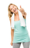 Healthy mature woman thumbs up sign isolated on white background. Healthy mature woman showing thumbs up sign Royalty Free Stock Photos