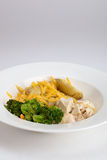Healthy meal. Consisting of chicken, broccoli, and potatoes; white dish; isolated Stock Photography