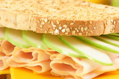 Healthy meal. Very well made sandwich whit fresh apple and fine cheddar honey ham Stock Photography