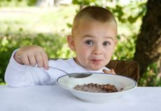 Healthy meal. Little boy is eating healthy breakfast royalty free stock image