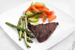 Healthy meal barbecue grill cookout meat steak vegetables Stock Photo