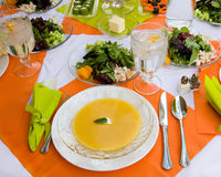 Healthy Meal in a Beautiful Table Setting Royalty Free Stock Photography