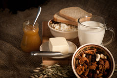 Healthy  meal . bread , cereals Stock Images