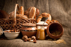 Healthy  meal with bread , cereals Royalty Free Stock Image