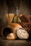 Healthy  meal with bread , cereals Royalty Free Stock Photos