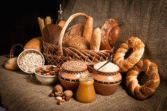 Healthy  meal with bread , cereals Royalty Free Stock Photography