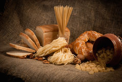 Healthy  meal with bread , cereals Stock Photography