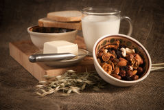 Healthy  meal with bread milk and cereals Royalty Free Stock Photos