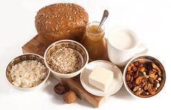 Healthy  meal with bread,milk and cereals Royalty Free Stock Photography