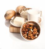 Healthy  meal with bread,milk and cereals Stock Photography