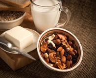 Healthy meal .bread,milk and cereals royalty free stock photo