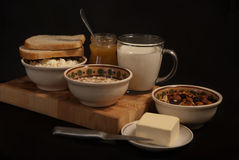 meal with bread,milk and cereals Royalty Free Stock Photos