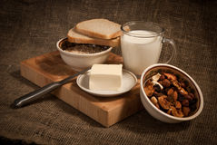 Healthy  meal with bread,milk , cereals Royalty Free Stock Photo
