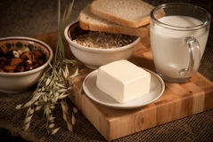 meal with bread,milk and cereals Stock Image