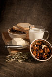 Healthy  meal with bread,milk and cereals Stock Photo