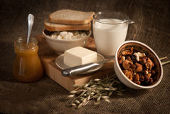 Meal with bread,milk and cereals Royalty Free Stock Photo