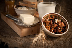 Healthy  meal with bread , cereals Stock Photos
