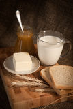 meal with bread,milk and cereals Stock Photos