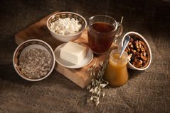 Healthy meal . bread,tea and cereals Royalty Free Stock Image