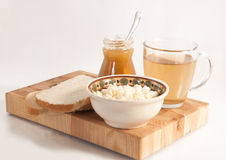 Healthy meal . bread,tea and cereals Stock Image