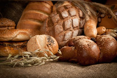 Healthy meal . bread,tea and cereals Royalty Free Stock Photos