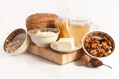 Healthy  meal with bread , cereals Royalty Free Stock Images