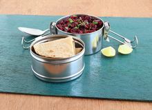 Healthy Meal Chapati and Beetroot Curry in a Lunchbox Stock Image