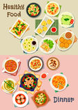 Healthy meal dishes icon set for food theme design. Healthy meal icon set of vegetable soups with meat, sausage and meatball, pasta with cheese, veggies, nut and Stock Images