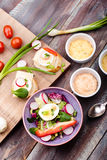 Healthy meal with eggs and vegetables Royalty Free Stock Photo
