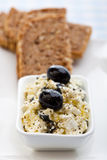 Healthy meal of feta cheese, bread and olives Royalty Free Stock Image