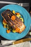 Grilled Salmon with Vegetables Served on Blue Plate royalty free stock images