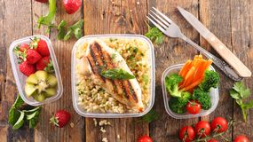 Lunch box. Healthy meal in lunch box Royalty Free Stock Image