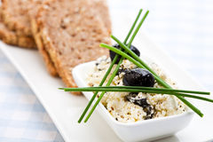 Healthy Meal Of Feta Cheese, Bread And Olives Royalty Free Stock Photography