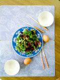 Healthy meal. Salad with boiled eggs for light and healthy meal Stock Photo