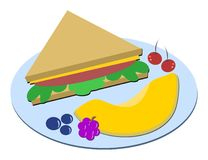 Healthy Meal of Sandwich and Fruits Royalty Free Stock Photo
