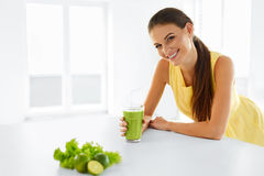 Healthy Meal. Woman Drinking Detox Smoothie. Lifestyle, Food. Dr Stock Photography