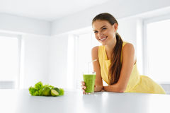 Healthy Meal. Woman Drinking Detox Smoothie. Lifestyle, Food. Dr stock images