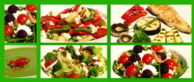 Diet. Served plates, chicken meat with veggies and soup. On a green easy to select background. Collage Stock Image