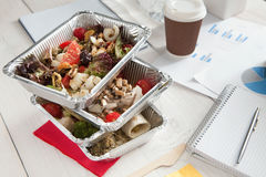 Healthy daily meals delivery in office, vegetable salad Royalty Free Stock Images