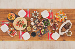 Healthy meals at festive table served for dinner party Stock Photos