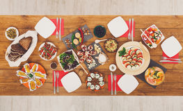 Healthy meals at festive table served for dinner party Royalty Free Stock Images
