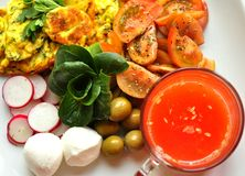 Healthy Mediterranean breakfast with omelette, cheese and orange juice Royalty Free Stock Photo
