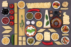 Healthy Mediterranean Food. Healthy mediterranean diet and food ingredients forming an abstract background over grey Stock Image