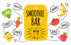 Healthy menu. smoothie bar. Stock Images