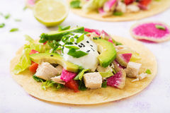 Healthy mexican corn tacos with boiled chicken breast, avocado and watermelon radish Stock Image