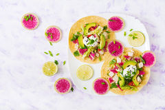 Free Healthy Mexican Corn Tacos With Boiled Chicken Breast, Avocado And Watermelon Radish And Yogurt Dressing. Stock Images - 85471604