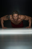 Healthy Middle Age Guy Doing Push Up Exercise Stock Photo