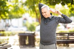 Active middle aged man working out in the park. Healthy middle aged man doing arms stretching workout in the park royalty free stock photos