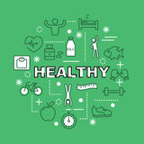 Healthy minimal outline icons Stock Photography