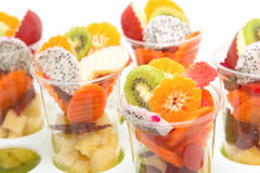 Healthy mix fruit cocktail in glass Stock Photos